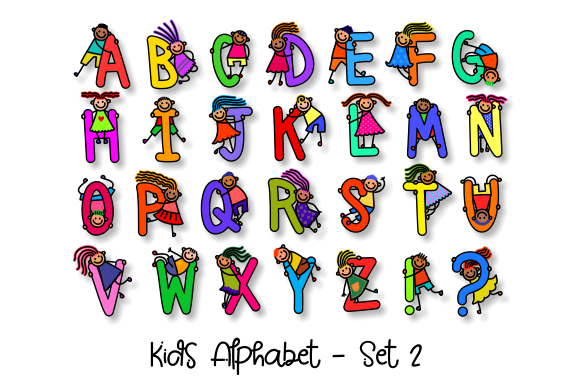 Download Free Uppercase Kids Alphabet Clipart Set 2 Graphic By Prawny for Cricut Explore, Silhouette and other cutting machines.