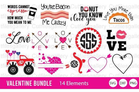 Download Free Valentine Bundle Valentine Monogram Graphic By Cutfilesgallery for Cricut Explore, Silhouette and other cutting machines.