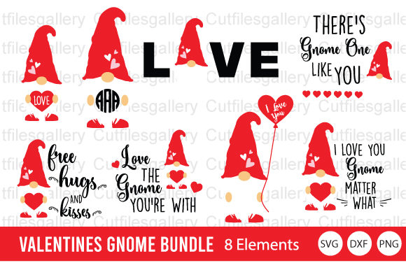 Valentines Gnome Bundle  Graphic Crafts By cutfilesgallery