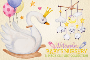 Watercolor Baby Nursery Clip Art Set Graphic Illustrations By Dapper Dudell