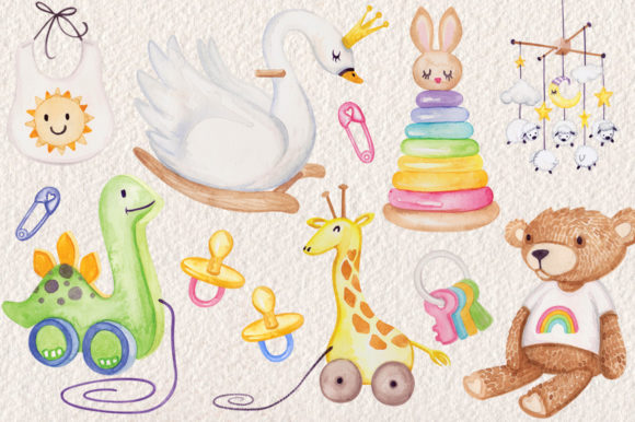 Download Free Watercolor Baby Nursery Clip Art Set Graphic By Dapper Dudell for Cricut Explore, Silhouette and other cutting machines.