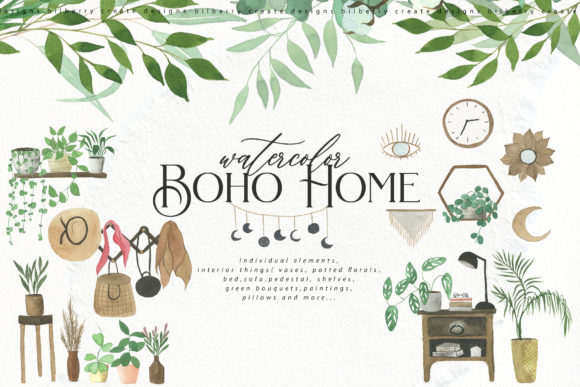 Watercolor Boho Home Graphic Illustrations By BilberryCreate