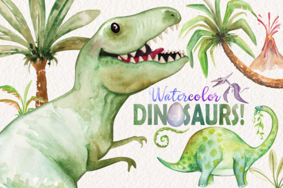 Watercolor Dinosaurs Elements Graphic Illustrations By Dapper Dudell