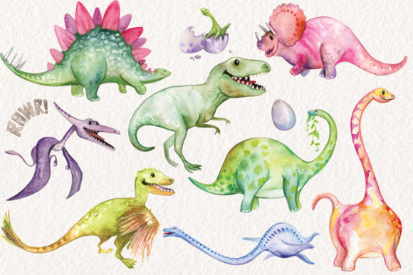 Watercolor Dinosaurs Elements Graphic Illustrations By Dapper Dudell - Image 2