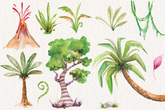 Watercolor Dinosaurs Elements Graphic Illustrations By Dapper Dudell - Image 3