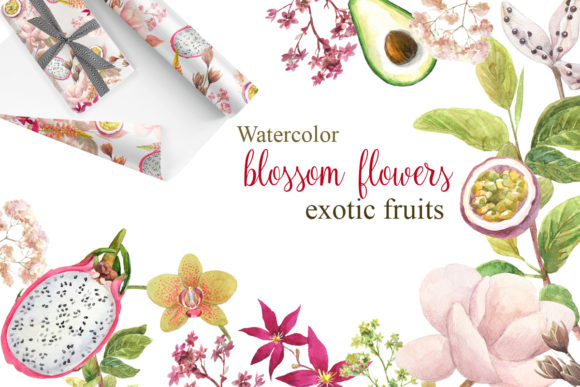 Watercolor Flowers, Exotic Fruits Graphic Illustrations By artist_patterns
