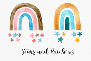 Watercolor Rainbow and Stars Clipart Graphic Illustrations By RedDotsHouse