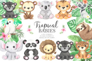 Watercolor Tropical Animals Clipart - 1