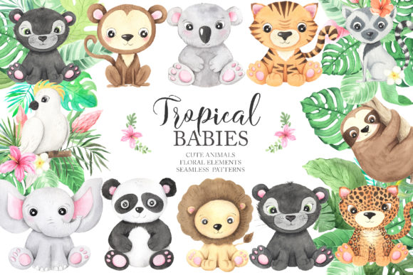 Watercolor Tropical Animals Clipart Graphic
