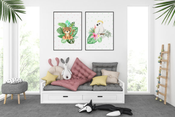 Watercolor Tropical Animals Clipart Graphic Graphic