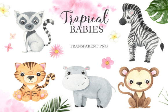 Watercolor Tropical Animals Clipart Graphic Download