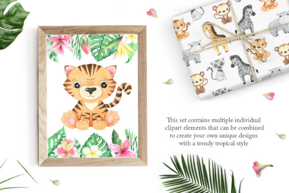 Watercolor Tropical Animals Clipart Graphic Item