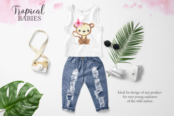 Watercolor Tropical Animals Clipart Graphic Preview