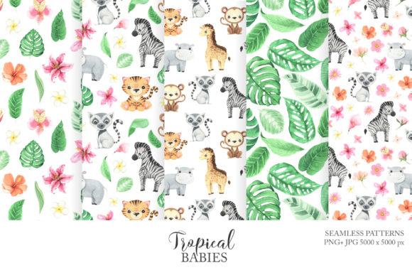 Watercolor Tropical Animals Clipart Graphic Image