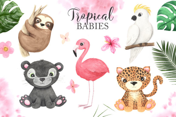 Watercolor Tropical Animals Clipart Graphic Popular Design