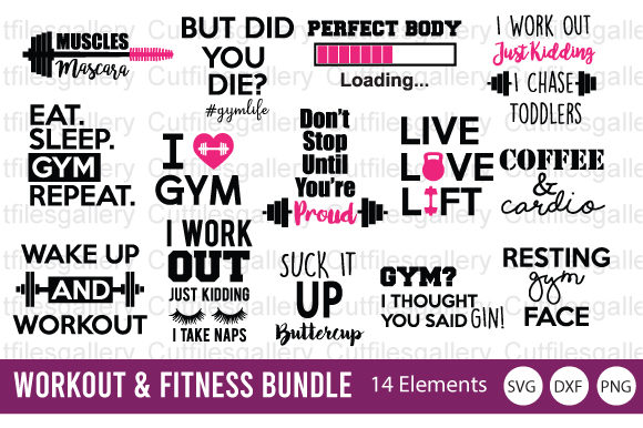 Download Free Workout Fitness Bundle Gym Graphic By Cutfilesgallery for Cricut Explore, Silhouette and other cutting machines.