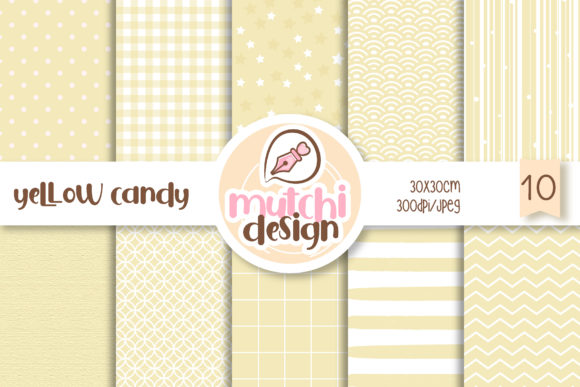 Print on Demand: Yellow Candy Color Digital Papers Graphic Backgrounds By Mutchi Design
