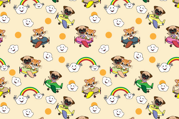 Print on Demand: Cat and Dog in the Plane Pattern Graphic Patterns By curutdesign