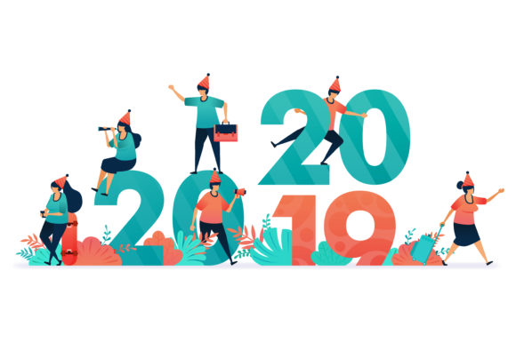 Download Free Countdown On 2019 To 2020 Graphic By Setiawanarief111 Creative for Cricut Explore, Silhouette and other cutting machines.