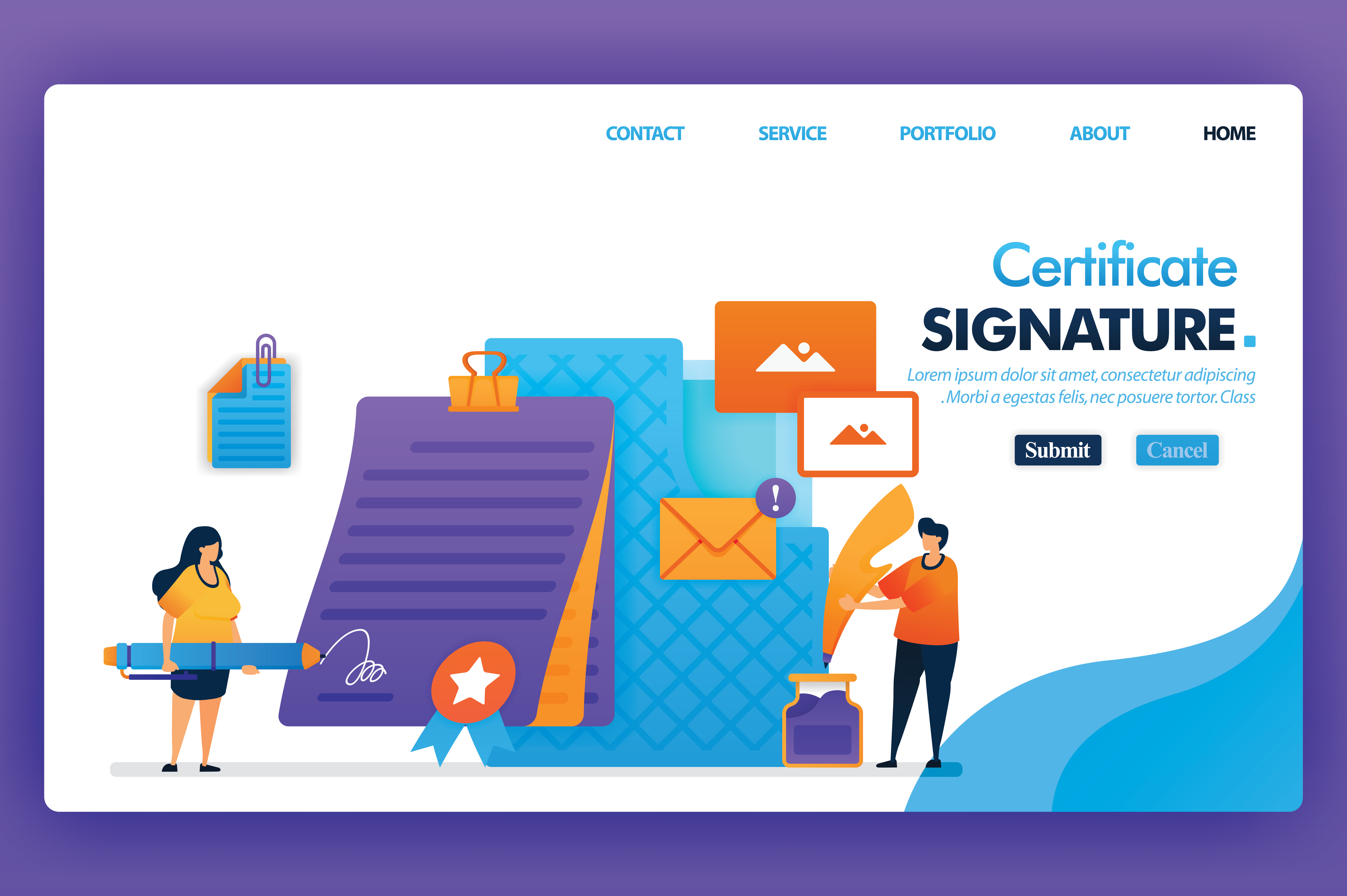 Download Free Landing Page Of Signature Certificate Graphic By for Cricut Explore, Silhouette and other cutting machines.