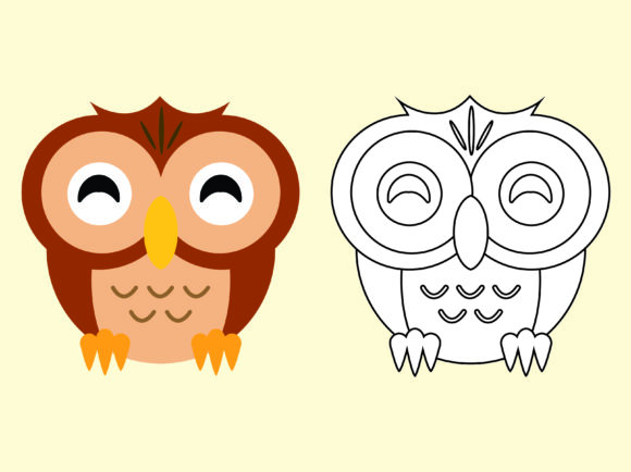 Download Free Owl Cartoon Vector Kids Drawing Design Graphic By 1tokosepatu for Cricut Explore, Silhouette and other cutting machines.