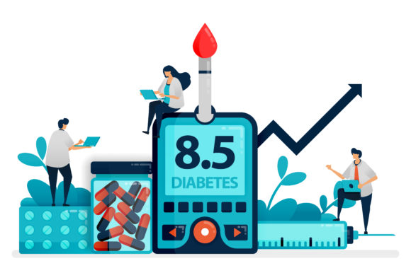 Download Free People Check Blood Sugar Level Graphic By Setiawanarief111 for Cricut Explore, Silhouette and other cutting machines.