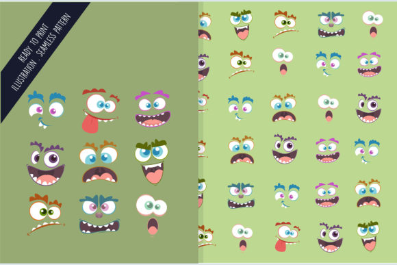 Seamless Design Pattern Face of Monsters Graphic Patterns By aprlmp276