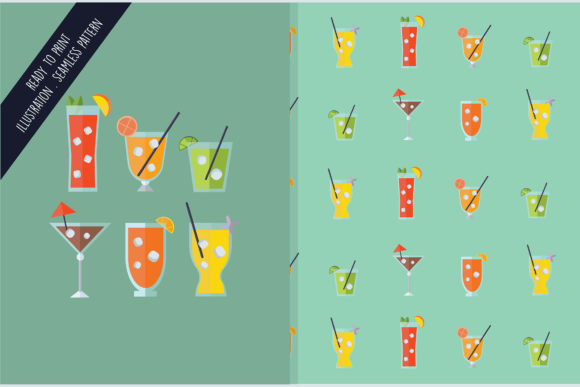 Download Free Seamless Design Pattern Isolated Drinks Graphic By Aprlmp276 for Cricut Explore, Silhouette and other cutting machines.
