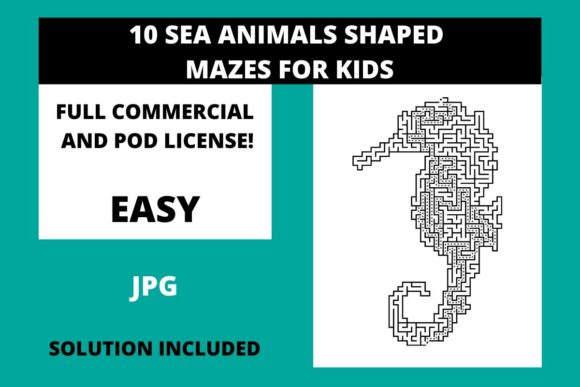 Print on Demand: 10 Sea Animals Shaped Mazes for Kids Graphic Illustrations By Fleur de Tango