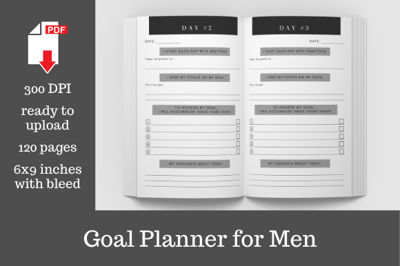 Print on Demand: 100 Day Goal Planner for Men Graphic KDP Interiors By KDP Template Designs