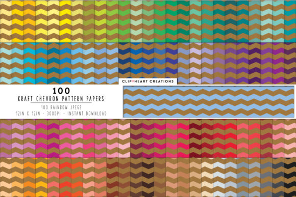 100 Kraft Chevron Pattern Digital Paper Graphic Backgrounds By clipheartcreations