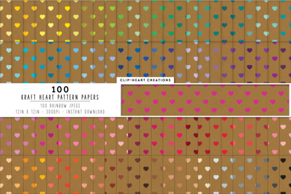 Download Free 100 Kraft Hearts Pattern Digital Paper Graphic By for Cricut Explore, Silhouette and other cutting machines.