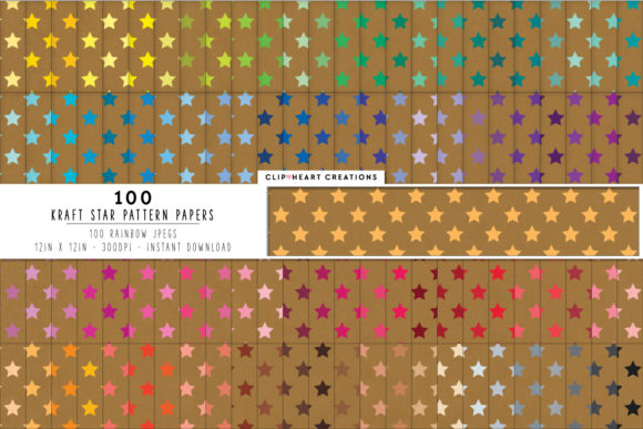 100 Kraft Star Pattern Digital Paper Graphic Backgrounds By clipheartcreations
