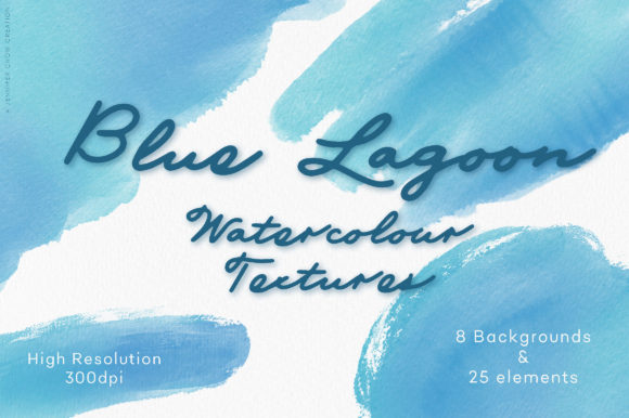 Abstract Watercolor | Blue Lagoon Graphic Textures By Jennifer Chow