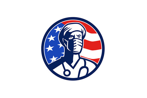 Download Free American Doctor Surgical Mask Usa Flag Graphic By Patrimonio for Cricut Explore, Silhouette and other cutting machines.