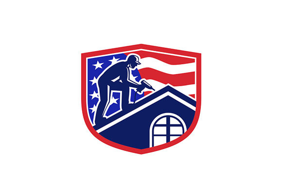 Download Free American Roofer Usa Flag Crest Retro Graphic By Patrimonio for Cricut Explore, Silhouette and other cutting machines.