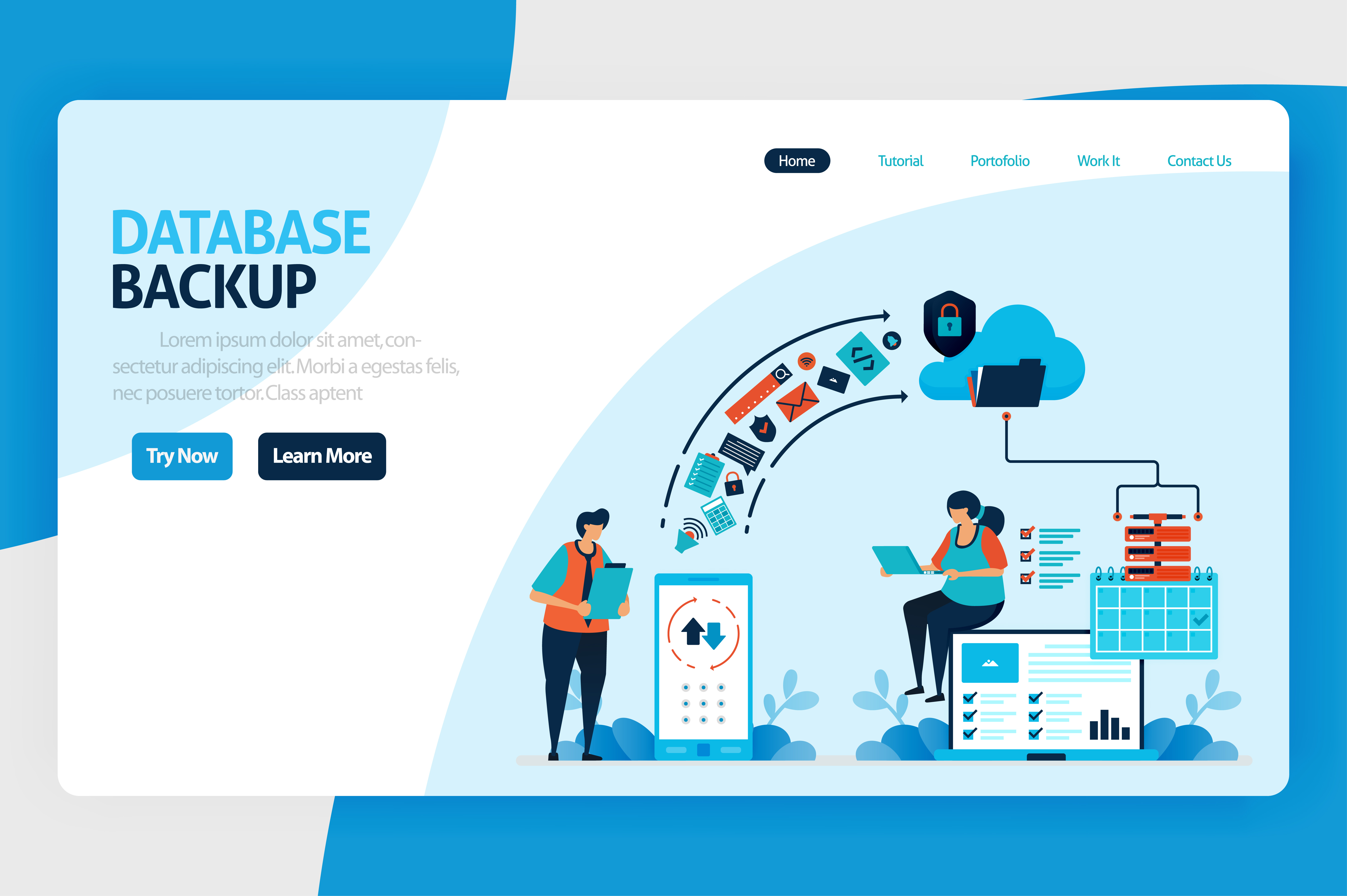 Download Free Backup Database Landing Page Design Graphic By Setiawanarief111 for Cricut Explore, Silhouette and other cutting machines.