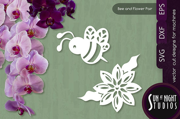 Bee And Flower Vector Cut Graphic By Sun At Night Studios