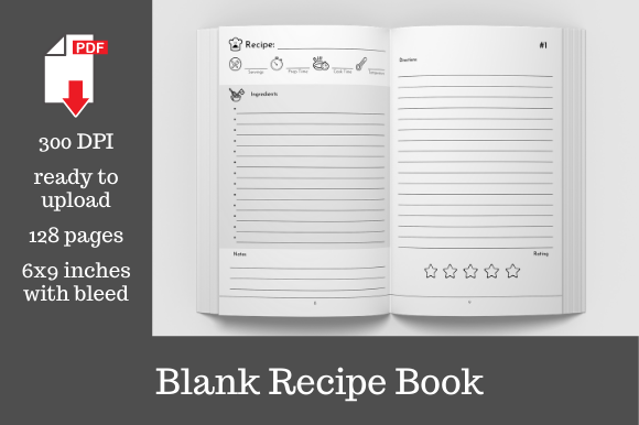 Print on Demand: Blank Recipe Book Graphic KDP Interiors By KDP Template Designs