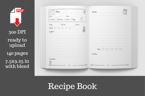 Print on Demand: Blank Recipe Book  Gráfico Páginas KDP Por KDP Template Designs