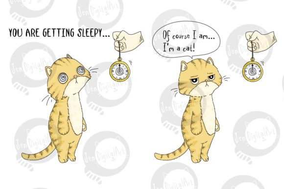 Comic Strip Design - Cat Hypnosis Graphic Illustrations By Jen Digital Art