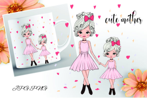 Print on Demand: Cute Mother and Daughter Walk in Fashion Graphic Illustrations By Suda Digital Art