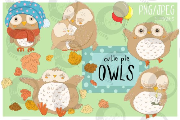 Cutie Pie Owls Graphic Illustrations By Jen Digital Art