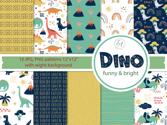 Dino Patterns - Digital Paper Graphic Patterns By lena-dorosh