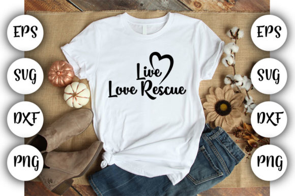 Download Free Dog Live Love Rescue Graphic By Design Store Creative Fabrica for Cricut Explore, Silhouette and other cutting machines.