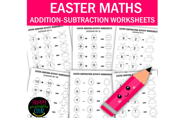 Print on Demand: Easter Maths -Addition and Subtraction Graphic K By Happy Printables Club