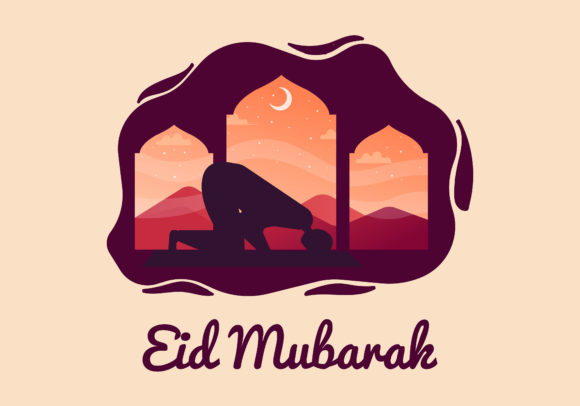 Download Free Eid Mubarak Flat Illustration Silhouette Graphic By Purplebubble for Cricut Explore, Silhouette and other cutting machines.