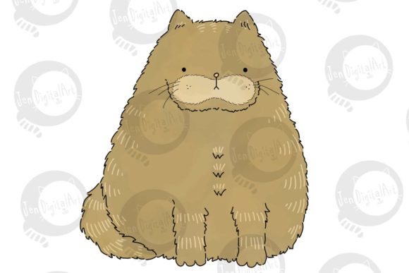 Download Free Fat Cat Graphic By Jen Digital Art Creative Fabrica SVG Cut Files