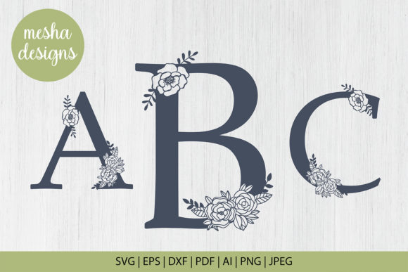 Print on Demand: Floral Letters a to Z Paper Cut Files Graphic Crafts By DIYCUTTINGFILES
