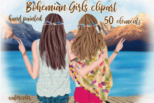 Print on Demand: Hippie Girls Clipart Bohemian Girls Graphic Illustrations By LeCoqDesign